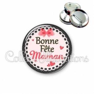 Badge 56mm Bonne fête maman (005ROS01)
