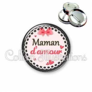 Badge 56mm Maman d'amour (005ROS01)