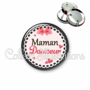 Badge 56mm Maman douceur (005ROS01)