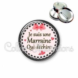 Badge 56mm Marraine qui déchire (005ROS01)