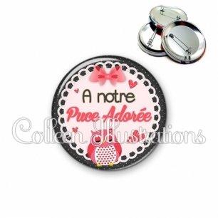 Badge 56mm Puce adorée (005ROS01)