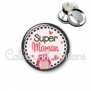 Badge 56mm Super maman (005ROS02)