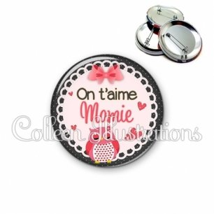 Badge 56mm On t'aime mamie (005ROS02)