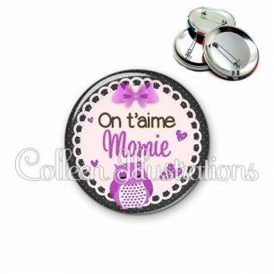 Badge 56mm On t'aime mamie (005VIO02)