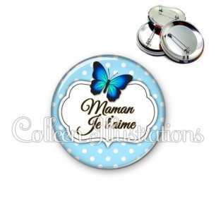 Badge 56mm Maman je t'aime (006BLE01)