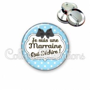 Badge 56mm Marraine qui déchire (006BLE08)