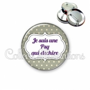 Badge 56mm Psy qui déchire (006GRI07)