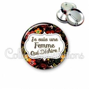 Badge 56mm Femme qui déchire (006MUL01)