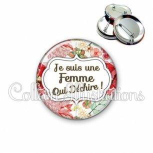 Badge 56mm Femme qui déchire (006MUL03)