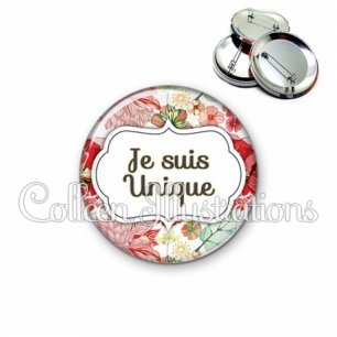 Badge 56mm Je suis unique (006MUL03)
