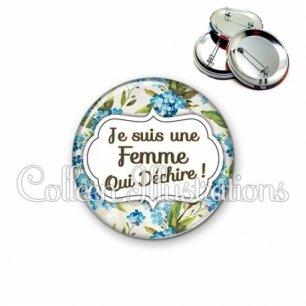 Badge 56mm Femme qui déchire (006MUL04)