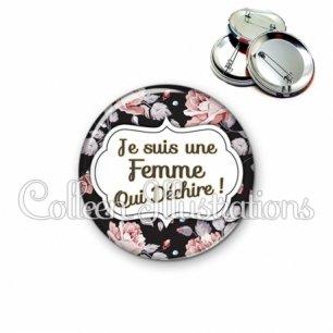 Badge 56mm Femme qui déchire (006MUL06)