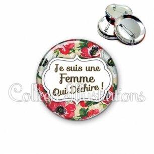 Badge 56mm Femme qui déchire (006MUL08)