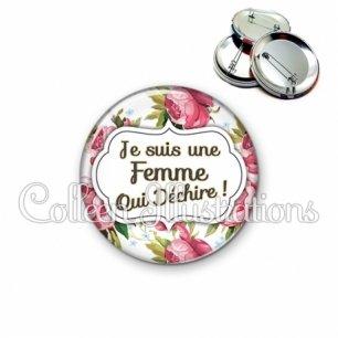 Badge 56mm Femme qui déchire (006MUL09)