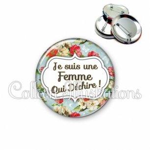 Badge 56mm Femme qui déchire (006MUL10)
