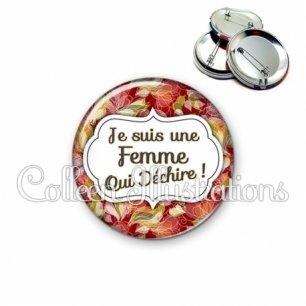 Badge 56mm Femme qui déchire (006MUL11)
