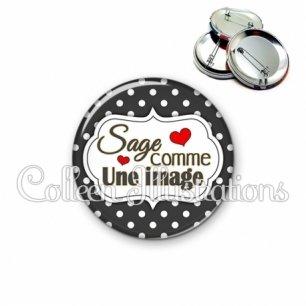 Badge 56mm Sage comme une image (006NOI11)