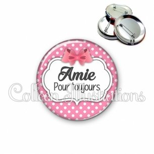Badge 56mm Amie pour toujours (006ROS02)
