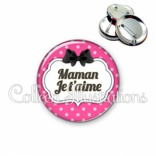 Badge 56mm Maman je t'aime (006ROS06)