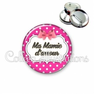 Badge 56mm Ma mamie d'amour (006ROS11)