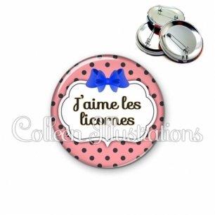 Badge 56mm J'aime les licornes (006ROS16)