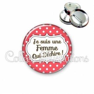 Badge 56mm Femme qui déchire (006ROU07)