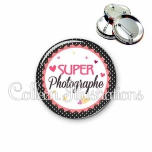 Badge 56mm Super photographe (007NOI01)