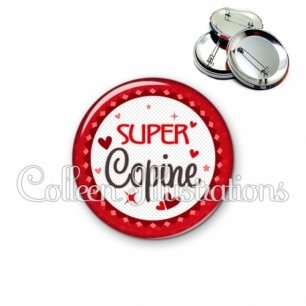 Badge 56mm Super copine (007ROU01)