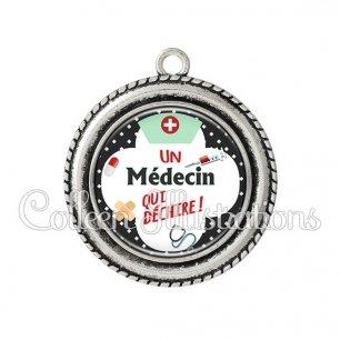 Pendentif résine Médecin qui déchire (002NOI01)