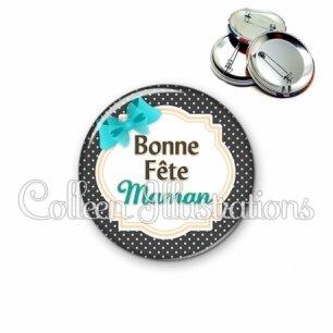 Badge 56mm Bonne fête maman (008NOI08)