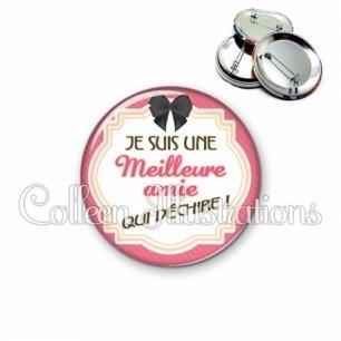 Badge 56mm Meilleure amie qui déchire (008ROS01)