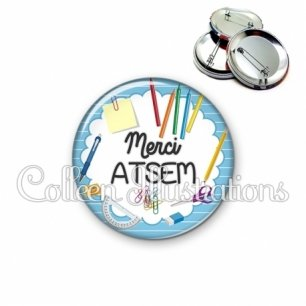 Badge 56mm Merci ATSEM (009BLE01)