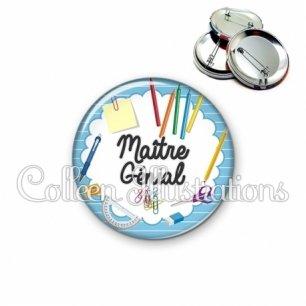 Badge 56mm Maître génial (009BLE01)