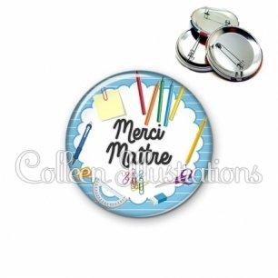 Badge 56mm Merci Maître (009BLE01)