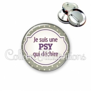 Badge 56mm Psy qui déchire (011GRI01)