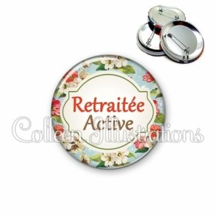 Badge 56mm Retraitée active (011MUL03)