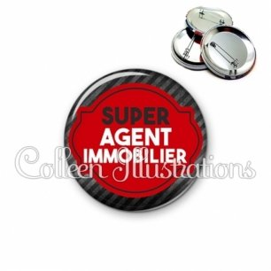 Badge 56mm Super agent immobilier (011NOI01)
