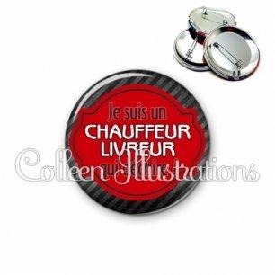 Badge 56mm Chauffeur livreur qui déchire (011NOI01)