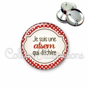 Badge 56mm ATSEM qui déchire (011ROU01)