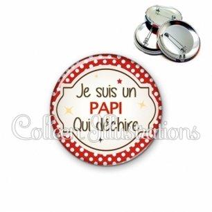 Badge 56mm Papi qui déchire (011ROU01)