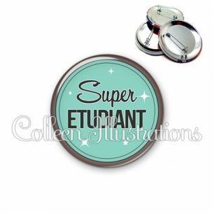 Badge 56mm Super étudiant (012VER01)