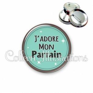 Badge 56mm J'adore mon parrain (012VER01)