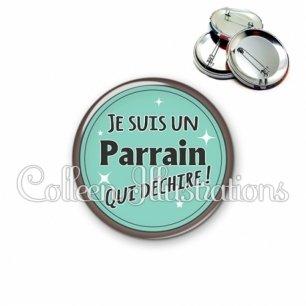 Badge 56mm Parrain qui déchire (012VER01)