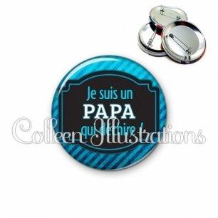 Badge 56mm Papa qui déchire (013BLE03)