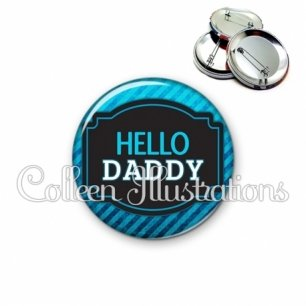Badge 56mm Papa hello daddy (013BLE03)