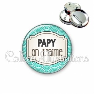 Badge 56mm Papy je t'aime (013BLE04)