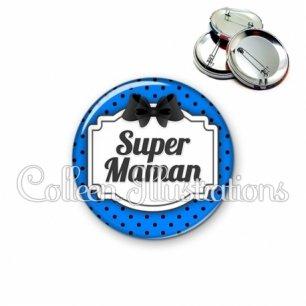 Badge 56mm Super maman (013BLE07)