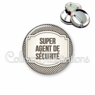 Badge 56mm Super agent de sécurité (013GRI01)