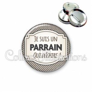 Badge 56mm Parrain qui déchire (013GRI01)