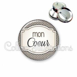Badge 56mm Mon cœur (013GRI01)